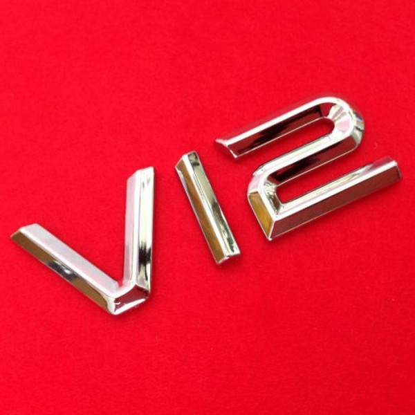3D V12 Emblem Zeichen Chrom Schriftzug Auto Aufkleber Motorhaube Kotflügel Logo