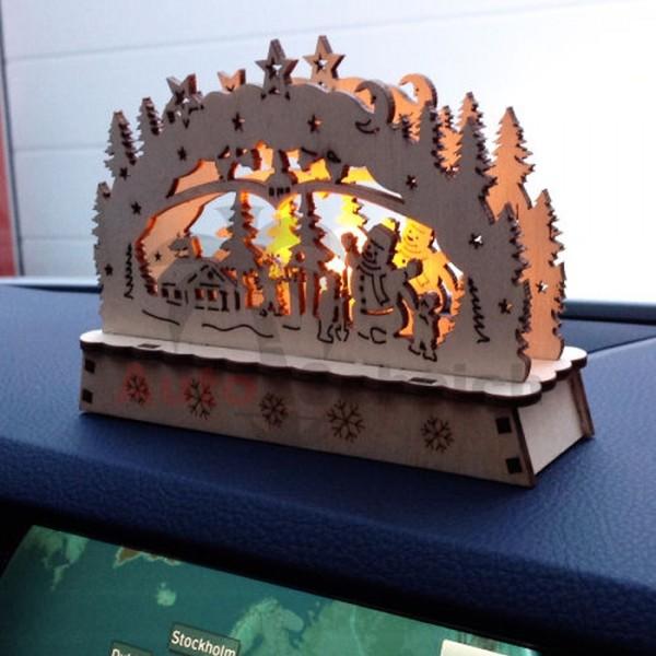 Auto Schwibbogen klein Lichterbogen LED KFZ LKW Holz Licht Weihnachtsbaum Christbaum