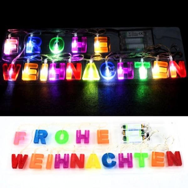 16 LED Lichterkette Schriftzug Weihnachtsdeko Fensterdeko Weihnachtsbeleuchtung