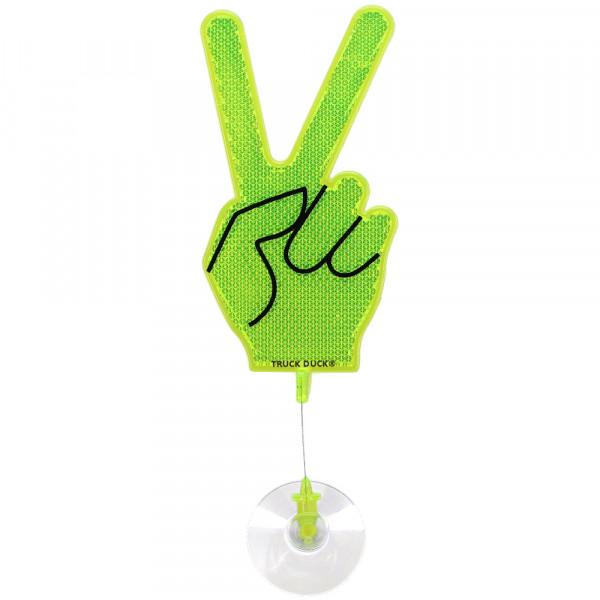Winkehand Peace Reflektor Hand Deko Wackelhand Bye Bye Hand grün mit Saugnapf für LKW Auto