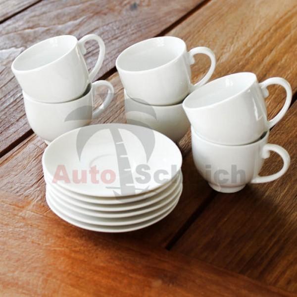 12-teiliges Espresso Tassen Set Espressotassen Untersetzer weiß Steingut 75ml Cup