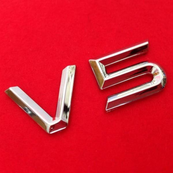 3D V5 Emblem Zeichen Chrom Schriftzug Auto Aufkleber Motorhaube Kotflügel Logo
