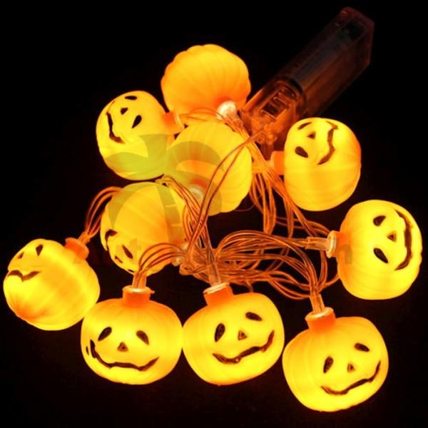 Helloween Kürbis Lichterkette LED Licht Dekoration Herbst Deko Party Beleuchtung