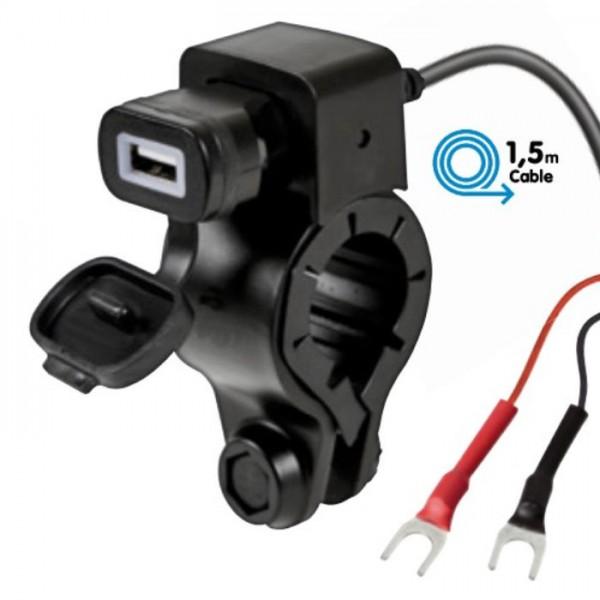 12V Motorrad Roller Quad Lenker USB Ladegerät 2.4A Bord-Steckdose Adapter Handy