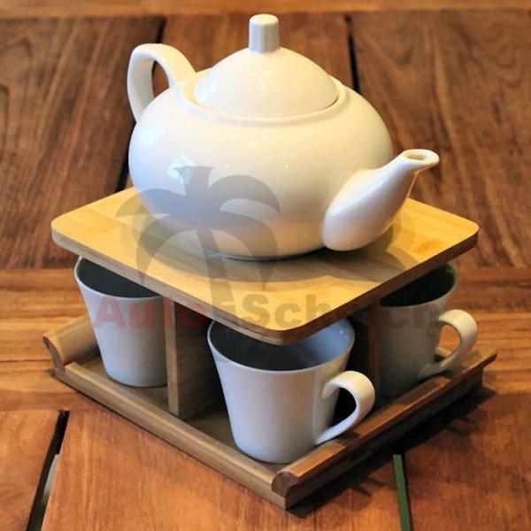 6 teiliges Porzellan Teeservice Teeset Teekanne Teetasse weiß Bambusständer Holz Set