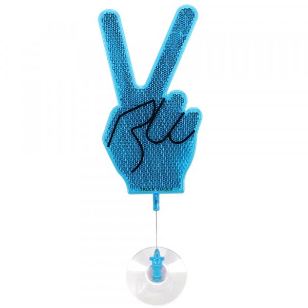 Winkehand Peace Reflektor Hand Deko Wackelhand Bye Bye Hand blau mit Saugnapf für LKW Auto