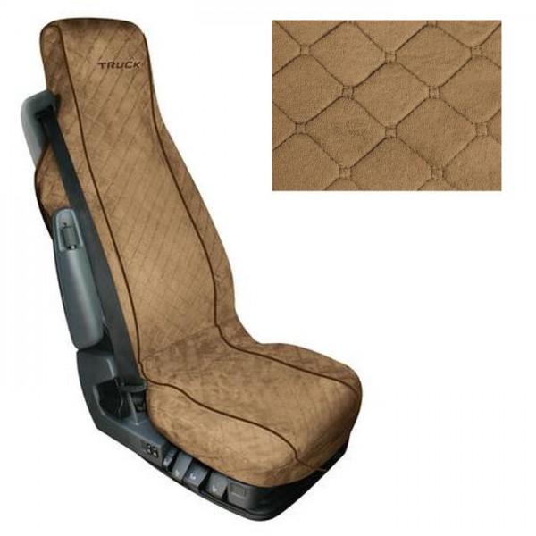 LKW Sitzbezug beige / braun mit Taschen und Oldschool Retro Vintage Rautensteppnaht Mikrofaser