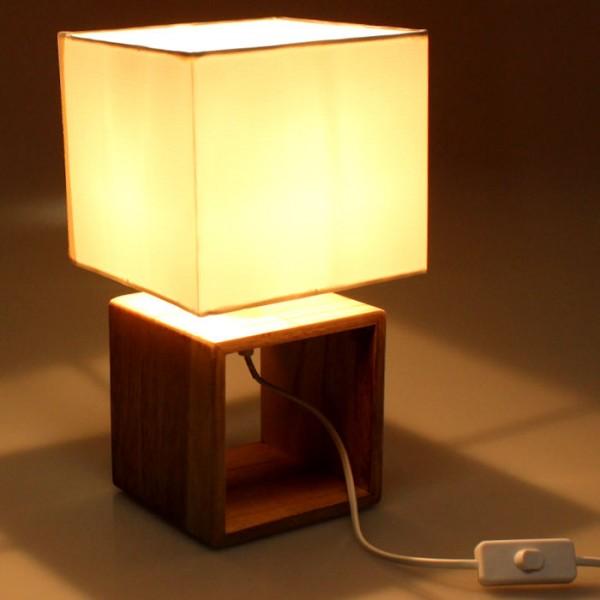 Tischlampe 29cm Nachttischlampe Holzlampe Tischleuchte Deko Holz Tisch Lampe