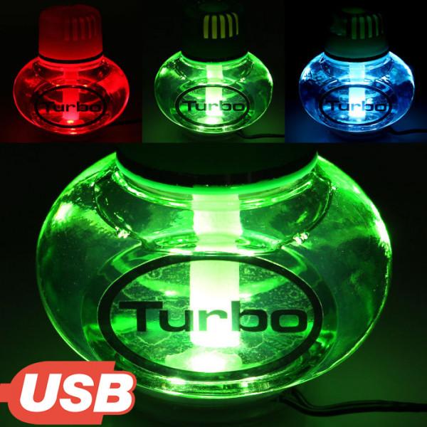 Turbo Lufterfrischer Lemon Duft mit USB 5V 7 LED Beleuchtung für LKW Auto KFZ Bus Wohnwagen