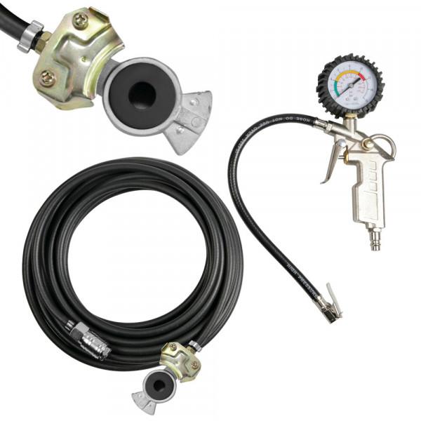 LKW Reifenfüller Reifendruckprüfer Set mit Druckluft-Schlauch Kupplung Anschluss Druckluftpistole