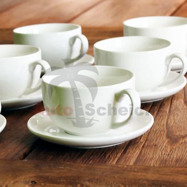 12-teiliges Cappuccino Tassen Set Cappuccinotassen Untersetzer weiß Steingut 200ml