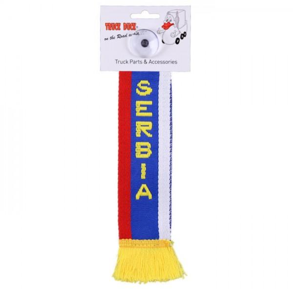 LKW Auto Minischal Serbien Serbia Mini Schal Wimpel Saugnapf Anhänger Spiegel Deko Flagge