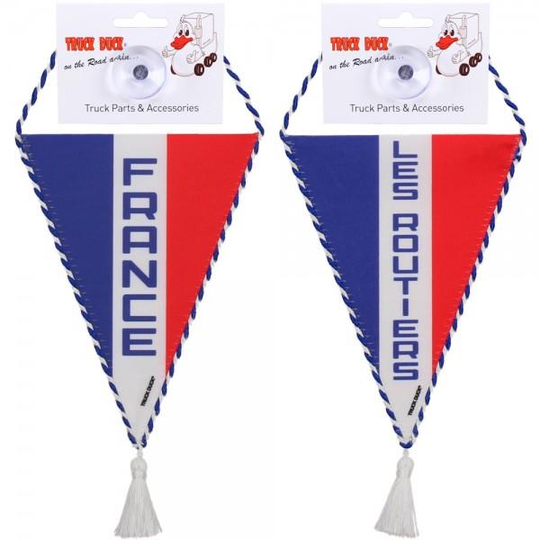 LKW Auto Wimpel France Les Routiers mit Saugnapf Spiegel Deko Mini Schal Flagge Fahne Banner
