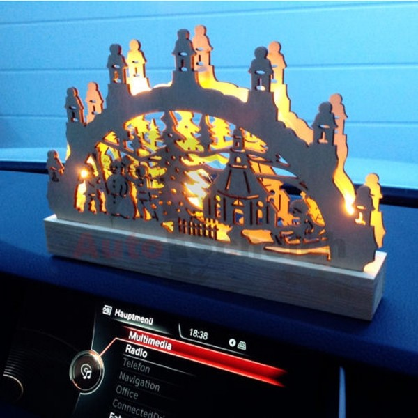 Auto Schwibbogen Lichterbogen LED KFZ LKW Holz Licht Christbaum Weihnachtsbaum