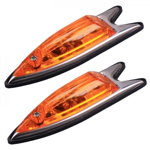 ERMAX A6870 Set Blinkleuchten Blinker Set gelb Fisch Form Leuchten Lampen LKW Bus KFZ 6V - 24V