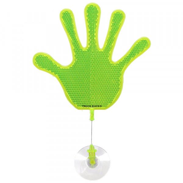 Winkehand Reflektor Hand Deko Wackelhand Bye Bye Hand grün mit Saugnapf für LKW Auto