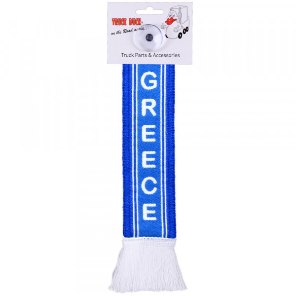 LKW Auto Minischal Greece Griechenland Trucker Mini Schal Wimpel Saugnapf Spiegel Deko Flagge Fahne