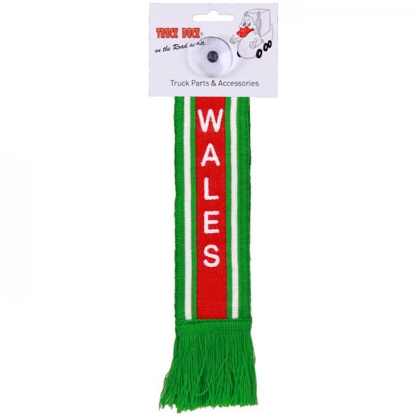 LKW Auto Minischal Wales Großbritannien Trucker Mini Schal Wimpel Saugnapf Spiegel Deko Flagge Fahne