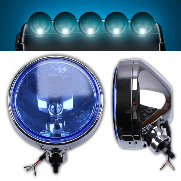LKW Chrom Fernscheinwerfer Zusatzscheinwerfer blau 24V Halogen Offroad Fernlicht