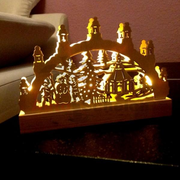 Mini 3D Schwibbogen Lichterbogen LED Holz Licht Christbaum Weihnachtsbaum Advent