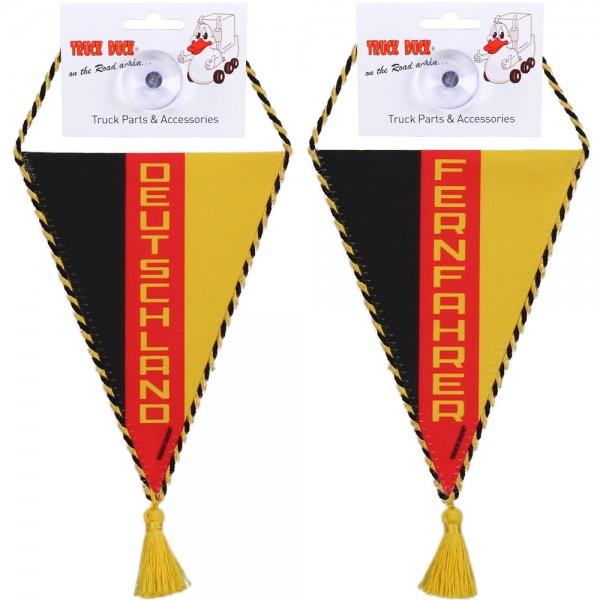 LKW Auto Wimpel Deutschland Fernfahrer mit Saugnapf Spiegel Deko Mini Schal Flagge Fahne Banner