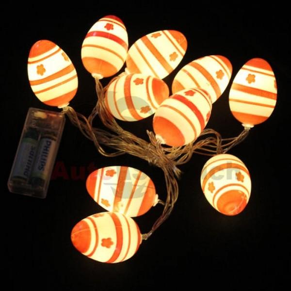10 LED Ostereier Lichterkette Licht Dekoration Ostern Osterhase Küken Osterstrauß
