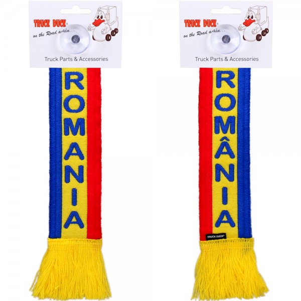 LKW Auto Minischal Romania Rumänien Mini Schal Wimpel Saugnapf Anhänger Spiegel Deko Flagge