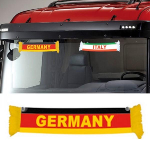 LKW Auto Germany Deutschland Mini Schal Wimpel Flagge Fahne 50x9cm Saugnapf Spiegel Truck